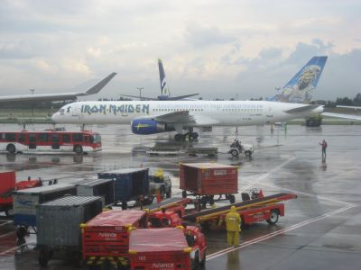 iron maiden airplane at bogota el dorado airport